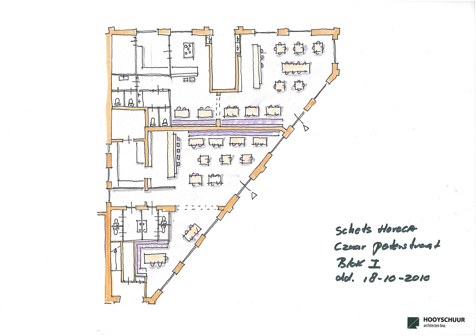 Plattegrond Keuken Horeca : Voor het koppand (Conradstraat 168-170 en Czaar Peterstraat 199-205